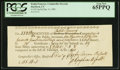 Colonial Notes:Connecticut, Connecticut Dec. 9, 1789 Ralph Pomeroy Comptroller Receipt PCGS GemNew 65PPQ.. ...