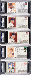 Baseball Collectibles:Others, 1981-98 Ted Williams, Mickey Mantle, Carl Yastrzemski & LarryDoby Signed First Day Covers Lot of 5....