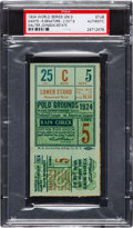 Baseball Collectibles:Tickets, 1924 World Series Game Five Ticket Stub from The Walter JohnsonEstate, PSA Authentic....