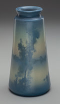 Ceramics & Porcelain, American:Modern  (1900 1949)  , Rookwood Vellum Glazed Landscape Vase by Ed Diers. Circa 1910.Incised (addorsed RP with 14 flames), X, 1655E, V ED. Ht. 8 i...