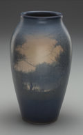 Ceramics & Porcelain, American:Modern  (1900 1949)  , Rookwood Vellum Glazed Landscape Vase by E. T. Hurley. Circa 1917.Incised (addorsed RP with 14 flames), XVII, 913D, V (arti...