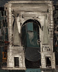 Claude Venard (French, 1913-1999) Arch View Mixed media on canvas 40 x 31-3/4 inches (101.6 x 80