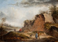 Paintings, Thomas van Apshoven (Flemish, 1622-1664). Rocky Landscape with Travelers on a Path and Two Figures Conversing in the Foreg...