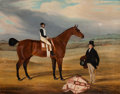 Fine Art - Painting, European:Antique  (Pre 1900), William Nedham (British, 1793-1879). Foreigner with jockey upand his owner standing to the right, 1838. Oil on canvas. ...