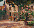 Fine Art - Painting, European:Modern  (1900 1949)  , Victor Charreton (French, 1864-1937). French Courtyard. Oilon board. 23 x 28-1/2 inches (58.4 x 72.4 cm). Signed indist...