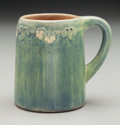 Ceramics & Porcelain, American:Modern  (1900 1949)  , Newcomb College Semi-Matte Glazed Ceramic Floral Mug by Mary LouiseDunn . Potted by Joseph Meyers. Circa 1912. Incised and ...