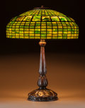 Art Glass:Tiffany , Tiffany Studios Leaded Glass and Bronze Turtleback TileTable Lamp. On Mock Turtleback Base.. Circa 1907. St...(Total: 3 Items)
