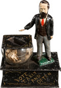 Antiques:Toys, Rutherford B. Hayes: An Almost Certainly Unique Mechanical Bank Depicting this Controversial President....