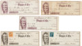 Political:Small Paper (pre-1896), Gideon Welles: Autographed Checks.... (Total: 5 Items)