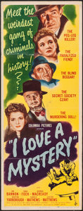 "Movie Posters:Mystery, I Love a Mystery (Columbia, 1945). Insert (14"" X 36""). Mystery....."