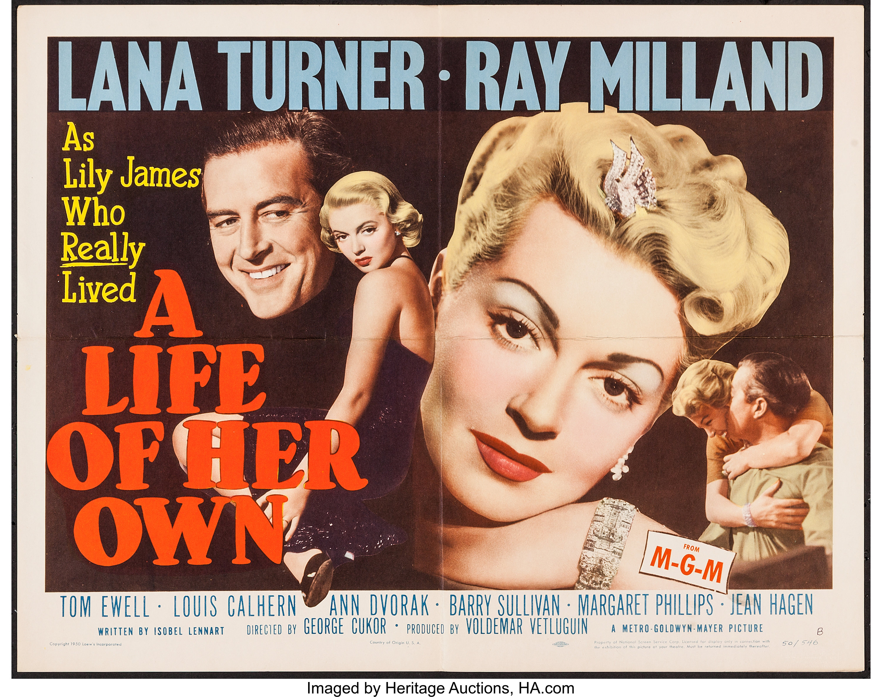 """A Life of Her Own (MGM, 1950). Half Sheet (22"""" X 28"""") Style B. 