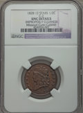Half Cents, 1828 1/2 C 12 Stars, C-2, B-3, R.2 -- Improperly Cleaned -- NGCDetails. Unc. Our EAC Grade AU50. Manley Die State 3.0,...