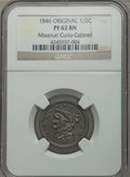 Proof Braided Hair Half Cents, 1846 1/2 C Original B-1, R.6 PR62 Brown NGC. Our EAC Grade PR60.84.9 grains. This delightful proof half cent exhibits irid...