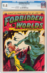 Forbidden Worlds #1 River City pedigree (ACG, 1951) CGC NM 9.4 Off-white pages