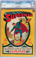 Golden Age (1938-1955):Superhero, Superman #1 (DC, 1939) CGC FR/GD 1.5 Off-white to white pages....
