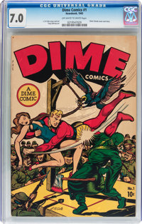 Dime Comics #1 (Newsbook, 1945) CGC FN/VF 7.0 Off-white to white pages