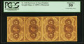Fractional Currency:First Issue, Fr. 1230 5¢ First Issue Vertical Strip of Four PCGS About New 50.....