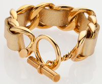"""Chanel Metallic Gold Leather & Gold Chain Bracelet Excellent Condition 9"""" Length x .75"""" Height"""