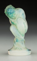 Art Glass:Lalique, R. Lalique Opalescent Glass Sirene Mascot with Green Patina. Circa 1920. Molded R. LALIQUE. M p. 497, No. 831...