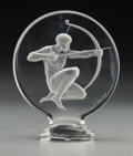 Art Glass:Lalique, R. Lalique Clear and Frosted Glass Archer Mascot . Circa 1926. Wheel carved R. LALIQUE FRANCE, engraved No. 11...