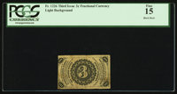 Fr. 1226 3¢ Third Issue Back Color Error PCGS Fine 15