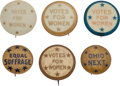 Political:Pinback Buttons (1896-present), Women's Suffrage: Six State or Star Buttons.... (Total: 6 Items)