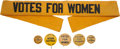 Political:Pinback Buttons (1896-present), Women's Suffrage: Black & Yellow Buttons and Sash.... (Total: 6 Items)