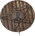 Political:Ferrotypes / Photo Badges (pre-1896), Abraham Lincoln: Ultra Ornate Ferrotype Badge....