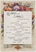 Miscellaneous:Ephemera, R.M.S. Carpathia: A Possibly Unique Menu from the Ship Which FirstReached the Titanic Following the Sinking....
