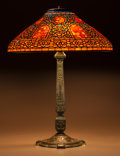 Art Glass:Tiffany , Extremely Rare Tiffany Studios Leaded Glass and BronzeRussian Table Lamp. On Early English base.. Circa190... (Total: 3 Items)