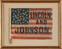 Lincoln & Johnson: A Superb 1864 Campaign Flag, the Threads of History plate example