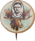 Political:Pinback Buttons (1896-present), Theodore Roosevelt: Great Antlers Picture Pin....