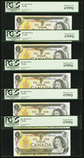 Canadian Currency: , BC-46b $1 1973, Five Consecutive Examples. ... (Total: 5 notes)