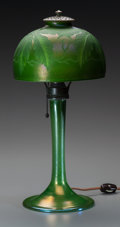 Art Glass:Tiffany , Tiffany Studios Engraved Green Favrile Glass Palm Desk Lamp.Circa 1905. Engraved to shade L.C.Tiffany, Favril... (Total: 3Items)