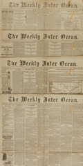 Miscellaneous:Newspaper, [President Grant's Sickness/Funeral]. Newspapers. Four Issues ofThe Weekly Inter Ocean. April 9, April 16, May 7,...