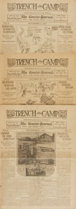 Miscellaneous:Newspaper, [WWI]. Newspapers. Group of Three Issues of Trench and Camp,Numbers 4, 5, and 6. Dated October 28, and November 4...