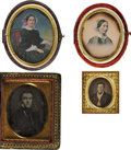 Photography:Daguerreotypes, Ninth and Sixteenth Plate Daguerreotypes.... (Total: 5 Items)