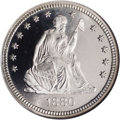 Proof Seated Quarters: , 1880 25C PR67 Cameo NGC. Type One Reverse. The Mint reportedly made1,355 proofs in 1880, and more than 500 coins have been...