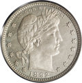 Proof Barber Quarters: , 1892 25C PR66 Cameo PCGS. Type Two Reverse. A resplendent proof with exceptional cameo contrast. The obverse is somewhat su...