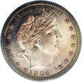 Proof Barber Quarters: , 1904 25C PR67 PCGS. Impeccable mirrored surfaces, while not credited with a Cameo designation, boast far more contrast than...