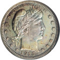 Proof Barber Quarters: , 1915 25C PR67 NGC. Vividly toned on both sides with vigorous lemon, rose-red, powder-blue, and lilac patina. This crisply s...