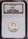 Washington Quarters: , 1932-S 25C MS63 NGC. A Select Uncirculated example of this key-dateissue. The surfaces are a pale silver-gray color and ex...