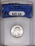 Washington Quarters: , 1934 25C Doubled Die Obverse MS64 ANACS. FS-009. The obverse isessentially brilliant, although the reverse is deeply toned...