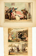 Books:Prints & Leaves, [Caricature]. [Thomas Rowlandson, Henry Bunbury]. Pair ofHand-Colored Engravings after Works by Rowlandson and Bunbury.[n....
