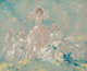 Louis Icart (French, 1888-1950) Two Women & Borzois, circa 1930-1940 Oil on board 19 x 23-1/2 inches (48.3 x 59...