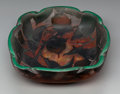 Art Glass:Daum, Daum Overlay Glass Peach Tree Bowl. Circa 1900. CameoDaum Nancy (with Cross of Lorraine), 1629. L. 8 in...