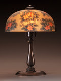 Art Glass:Other , Handel Reverse Painted Glass and Metal Roses Table Lamp.Circa 1910. Painted HANDEL 6761. Ht. 14-1/4 in.... (Total: 2 Items)