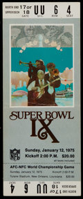 Football Collectibles:Tickets, 1975 Super Bowl IX Full Ticket - White Variation. ...