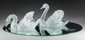 Glass, Pair of Lalique Clear and Frosted Glass Cygne Tete Droite and Cygne Tete Penchee on Mirror Plateau. ... (Total: 3 Items)