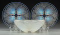 Art Glass:Lalique, R. Lalique Opalescent Glass Coquilles. 1 bowl and 2 plates.Circa 1924. Wheel carved R. LALIQUE FRANCE. M p. 701 &...(Total: 3 Items)